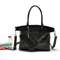 2013 black brief crocodile pattern one shoulder handbag cross-body bag women's handbag twinset