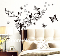 Free Shipping:5Set/Lot Black Flower&Butterflies Removable Vinyl Wall Decal Mural/TV Background Wall Stickers/Wall Paster 80*90Cm