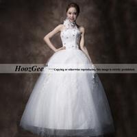 2014 new arrival in stock korea feelings halter floor-length flowers style wedding dress with diamond HoozGee 23732