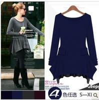 2013 autumn fashion plus size solid color long-sleeve knitted basic 6078 one-piece dress