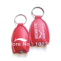 Promotion Gifts  LED Gifts  1000pcs/lot + Free Print LOGO LED Key Chain Keyrings Leather keychain