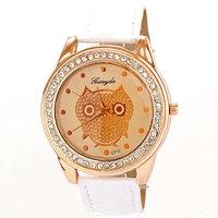 2013 Newest Hot Rhinestone Watches relojes Owl Gift PU Watch Luxury Women Brand quartz Clock leather Free Shipping drop shipping