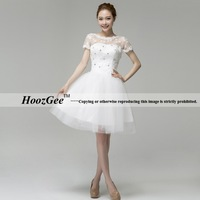 2013 new arrival in stock A-line scoop neck cap sleeve knee-length lace hollow wedding dress brail gown HoozGee-23745