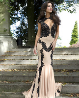 Exquisite Unique Free Shipping Custom Made Appliqued Chiffon Sleeveless Mermaid Formal Long Evening Prom Dresses 2014