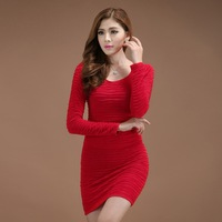 Free shipping 2013 new autumn and winter high-quality large size Slim thin wild bottoming skirt package hip long-sleeved dress