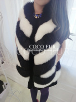 DHL EMS freeshipping Coco fur fashion horizontal stripe patchwork full leather fox fur vest