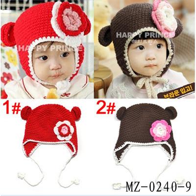 Retail Baby Crochet Monkey Hat Handmade Kids Winter Hat Beanie Earflap Hats Baby Toddler Crochet Animal Hats 1pc MZ-0240(China (Mainland))