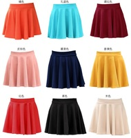 2014 NEW  Fashion Women High Waist Short Solid Color Skater Girl 's Mini Skirt Free Shipping 7 COLORS