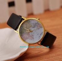 Brand new Retro World Map Watch Fashion Leather Alloy Womens Analog Quartz Wrist Watch, 100pcs DHL Free shipping