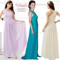 2013 gladiator style ruffle sexy one shoulder chiffon one-piece dress long design evening dresses