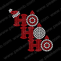 Wholesale 50Pcs/Lot Hot Sale Ho Ho Ho Christmas Transfer Motif Rhinestone Triming Hot Fix Designs Free Shipping