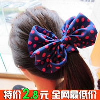 0133 hair accessory candy color headband fabric hair accessory polka dot sweet all-match chiffon bow hair rope
