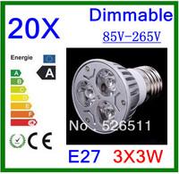 Wholesale-20pcs High power E27 9W  3x3W 85V-265V Dimmable  CREE LED Spotlight Bulb downlight lamp free shipping 2 years Warranty