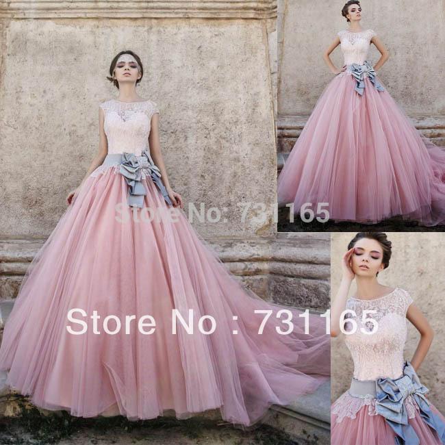 dentelle robe de mariée rose en Ligne à des Grossistes dentelle robe ...