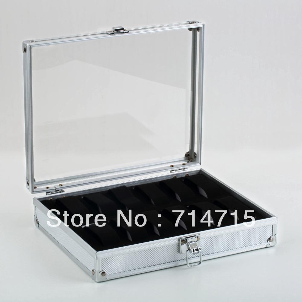 1pcs Storage Square Box 12 Grid Slots Jewelry Watches Display Case Aluminium Free / Drop Shipping(China (Mainland))