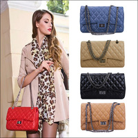 hot wholesale fashion genuine leather women's handbag elegant shoulder bag small plaid chain messenger bag 1443