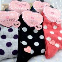 Han edition winter warmth  rabbit wool sock dot style women's long socks