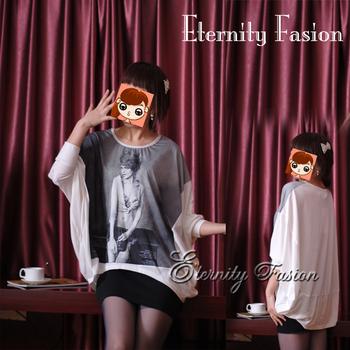 2013 autumn plus size women paragraph fashion batwing sleeve print t-shirt print head portrait gentlewomen