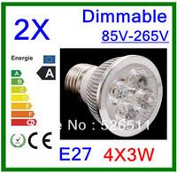 Wholesale-2pcs High power E27 12W  4x3W 85V-265V Dimmable  CREE LED Spotlight Bulb downlight lamp free shipping 2 years Warranty