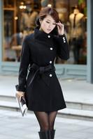 2013 Winter Black Fashion Women Girls Ladies Jacket Coat Adjustable Waist Woolen Long Coat Outwear, Free & Drop Shipping