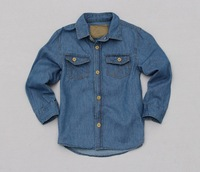 Hot sale 2013 baby boys blue denim tops kids long sleeve denim coat toddlers pocket fashion denim clothing free shipping