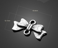 Free shipping fashion accessories 12*19mm20pcs/bag alloy antique silver vintage bowknot double holes pendant for jewelry making
