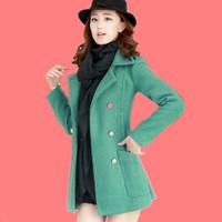 Free Shipping Fashion Woolen Outerwear 2013 Winter Overcoat Wool Blends Trench Coat Women Slim Female Thickening Jacket Desigual
