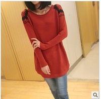Loose o-neck medium-long thickening sweater pullover female