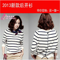 13 small cashmere cardigan sweater in the back sweater black and white stripe cardigan sweater female