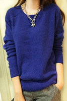 2013 autumn solid color o-neck long-sleeve pullover sweater all-match rabbit wool knitted basic shirt female