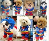 New Arrive Cute Pet  Puppy apparel cloth Lovely high quality Dizzy cool superman costume hot sell Free shipping