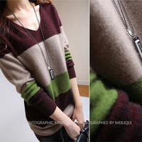 New arrival women's medium-long wide stripe pullover sweater V-neck cashmere knitted sweater