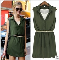 2013 summer new arrival fashion plus size clothing slim chiffon georgette skirt one-piece dress vest