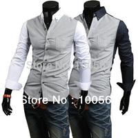 MH19 Mens Fashion Luxury Stylish Casual Slim Shirts 2Colors Free Shipping