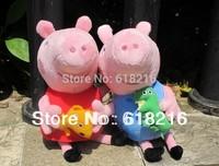 Toys for children  7''(19cm)  Cute Peppa Pig With Teddy Bear George Pig Plush Doll Stuffed Plush Cartoon Kids Gift#2988