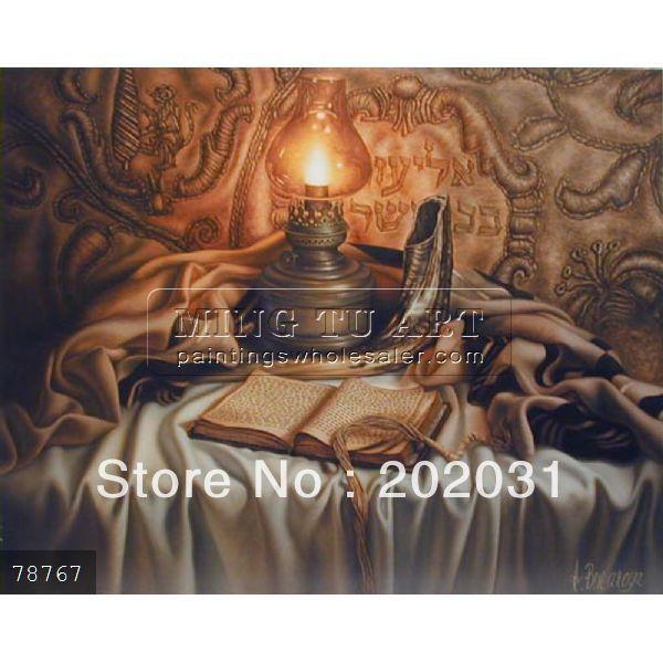 100% handmade judaica still life oil painting on fabric(Hong Kong)