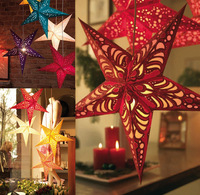 Christmas decoration three-dimensional five-pointed star ceiling hangings christmas paper pentastar small