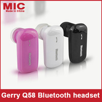 2013 Gerry fashion beautiful Ear Hook In Ear waterproof bluetooth earphones headset headphones 3 colors Red black white Q58 C18