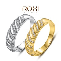 New Arrival 18K Yellow / White Plated Fashion Gold Rings for women,set with Zircon Crystal,ROXI 101044414a