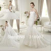 Newest Free Shipping Custom made Luxurious Strapless Mermaid Lace Wedding dress 2014