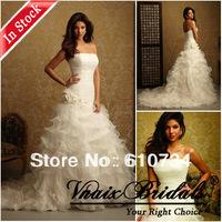 Vnaix IW010 In Stock Hot Sale A line Organza Ruffle Cheap Wholesale Wedding Dresses 2014