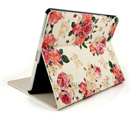 Luxury Retro Rose Flower Flip Magnetic Stand Leather Cases Smart Cover For Apple ipad mini 1/2 Retina ipad 2 3 4 Handbags 0774