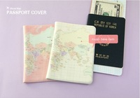 2014 New Arrived Map Of The World Fashion Korean Style Passport Holder Card Case Part Free Shipping Wholesale