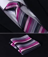 "TS343K8 Pink Gray Stripe 3.4"" Silk Lots Wedding Gravata Jacquard Classic Mans Tie Necktie Pocket Square Handkerchief Set Suit"
