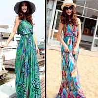 new 2014 fashion Peacock dress full haneda beach dress summer clothing long dress female