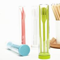 Fashion portable chopsticks dinnerware set spoon fork three piece set tableware eco-friendly plastic child tableware