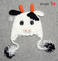 Crochet Cartoon Cows Baby Infant Crochet Hat Beanie Hand Cute Cow Design Baby Photo Props Kids Cap 5pcs  Free Shipping MZS-082