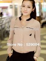 2013 New Sexy For Women's Chiffon Top Loose Shirts Sheer Plus Sizes M L XL Free Drop Shipping