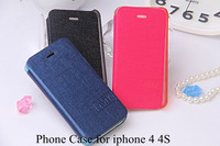 Luxury PU Leather Flip Case for iphone 4 4S,Mobile Phone Cover Retro with Fashion LOGO, Free Screen Film for iphone 4 4S