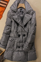 high quality Women's houndstooth slim medium-long down coat